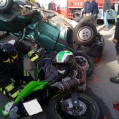 Montecalvo Irpino:violento frontale auto – moto:due feriti