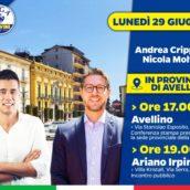 Lega Avellino, lunedì 29 giugno visita del vice segretario on. Andrea Crippa ad Avellino ed Ariano Irpino