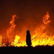 Incendio di rotoballe di fieno a Montecalvo Irpino