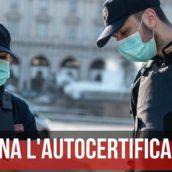 Coronavirus, in Campania torna l'autocertificazione