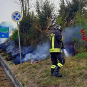 Manocalzati, incendio di sterpaglie: fiamme spiante dai Vigili del Fuoco