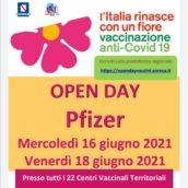 Open Day Pzifer mercoledì 16 e venerdì 18 giugno, da oggi aperte le vaccinazioni